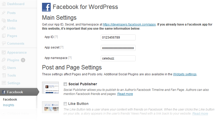 Facebook for WordPress