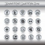 Free Brushed Metal Social Media Icons Pack
