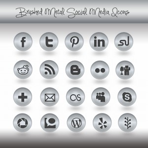 brushed metal social media icons set