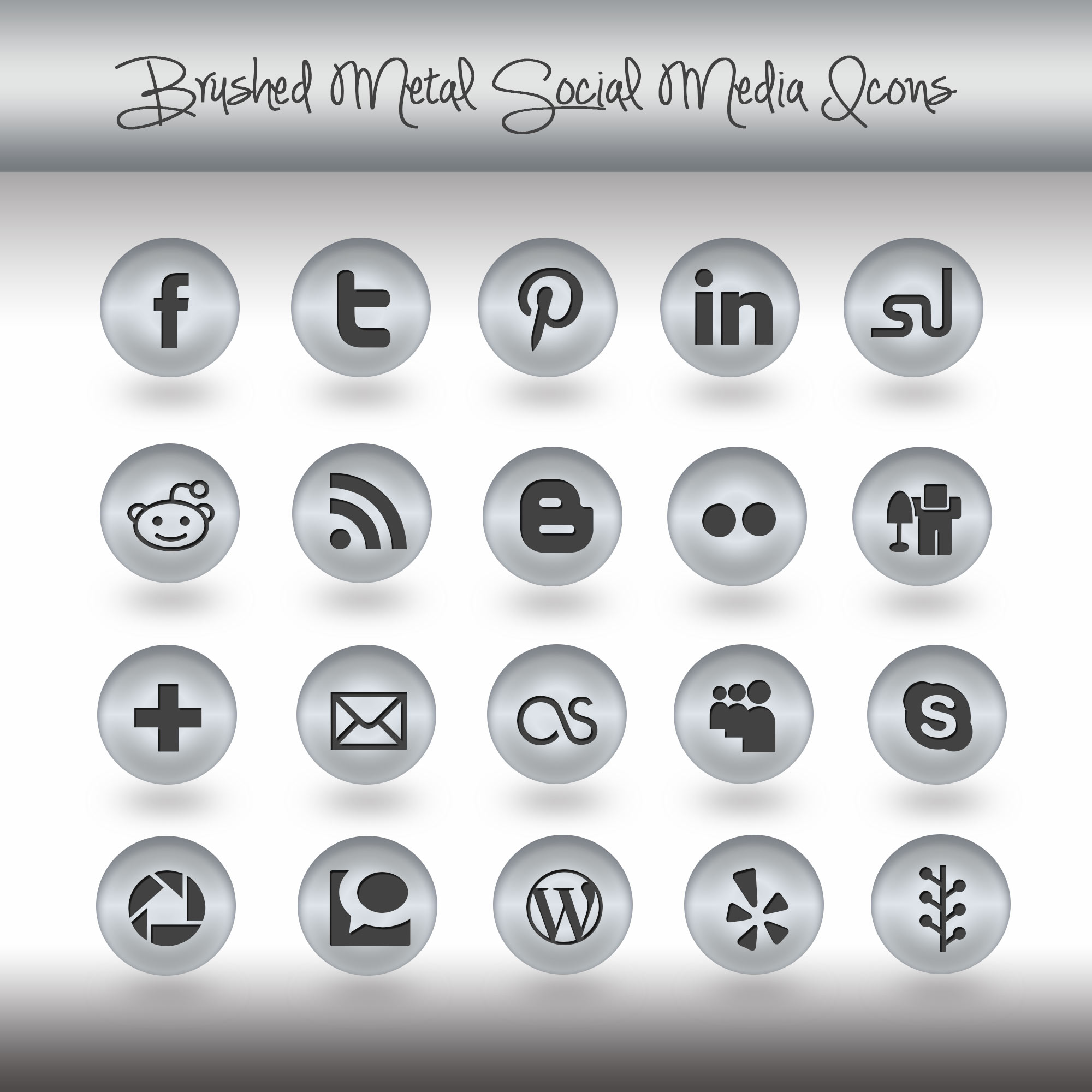 free brushed metal social media icons pack fresh view concepts